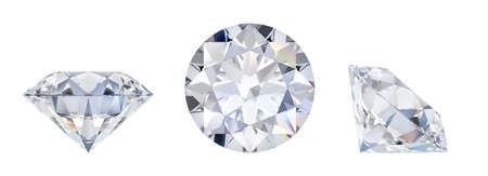 Diamante 3d en tres dimensiones. Vista lateral, acostado y superior. Imagen 3D. Fondo blanco aislado.