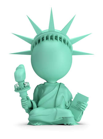 3d small people - meditating Statue of Liberty. 3d image. White background. Banque d'images