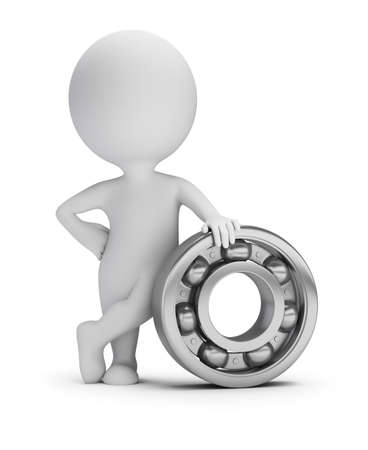 3d small person next to the ball bearing. 3d image. White background.