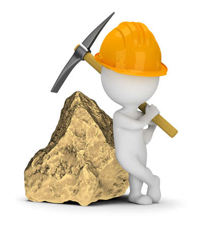 3d small people - miner with a pick next to a big gold nugget. 3d image. White background. Banque d'images