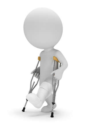 3d small person on crutches. 3d image. White background.