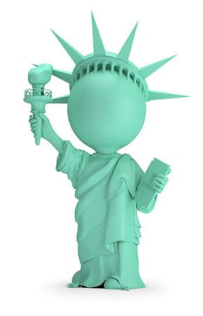 piccola gente 3d - statua della libertà. immagine 3D. Sfondo bianco.