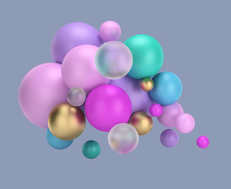 3d multicolored balls. 3d image. White background.