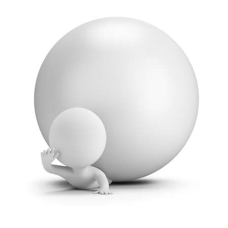 3d small people - pinned by a ball. 3d image. White background.