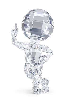 3d diamond man pointing finger up. 3d image. White background. Фото со стока