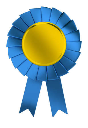 3d blue prize ribbon with gold center. 3d image. Isolated white background. 版權商用圖片 - 131580766