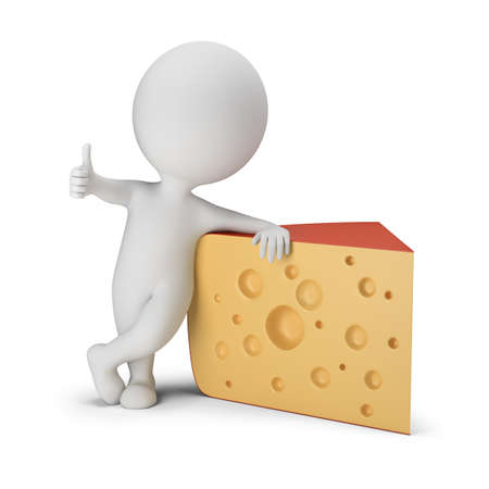 3d small person stands next to cheese. Thumb up. 3d image. White background.