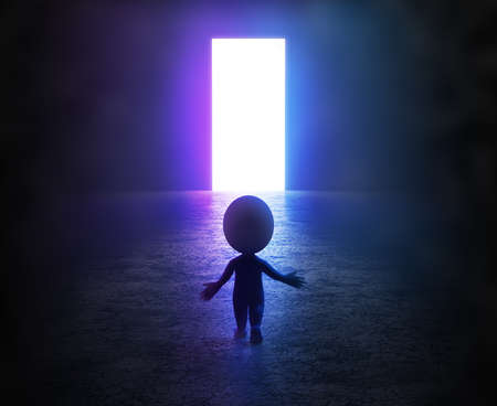 3d small person stands in the fog in front of a glowing light portal. 3d image.