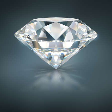 A beautiful sparkling diamond on a dark reflective surface. 3d image. Dark blue background.