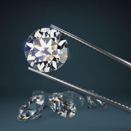 Diamond round cut in tweezers. Blurred dark blue with a scattering of diamonds. Depth of field. 3d image. Banque d'images