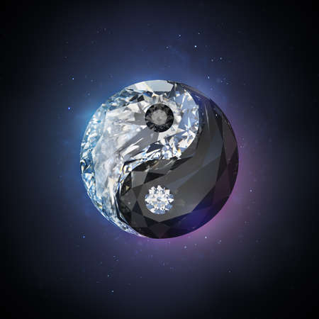 Diamond yin yang. 3d image. Black space background Banque d'images