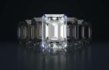 Emerald cut diamonds. Depth of field. 3d image.