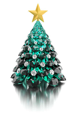 Christmas tree made of emeralds and diamonds with a gold star on a white reflective background. 3d image.