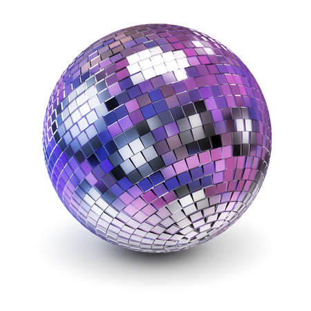 Disco ball. 3d image. White background.