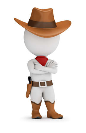 3d small person - cowboy is standing in a confident pose with his arms folded across his chest. 3d image. White background. Banque d'images