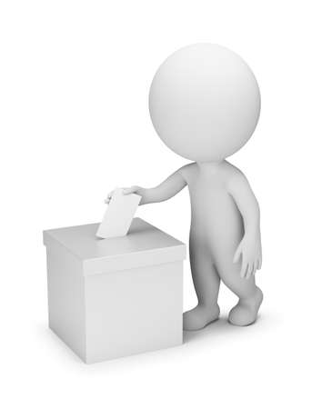 3d small people - voting. 3d image. White background. Banque d'images