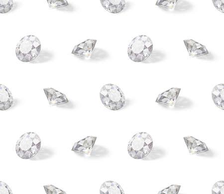 Seamless isometric pattern of diamonds. 3d image. White background. Standard-Bild