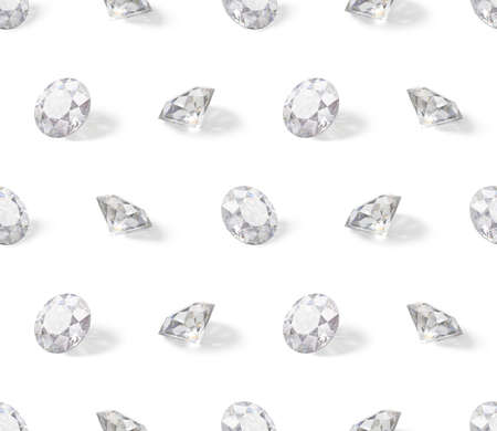 Seamless isometric pattern of diamonds. 3d image. White background. Banque d'images