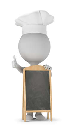 3d small people - cook stands next to the menu board and shows a thumb up. 3d image. White background. Banque d'images