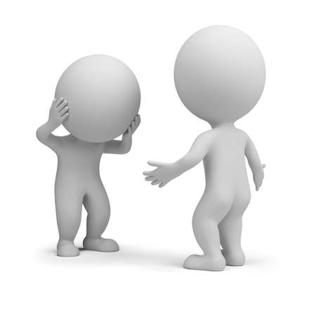 Two 3d people are having an emotional conversation. 3d image. White background.