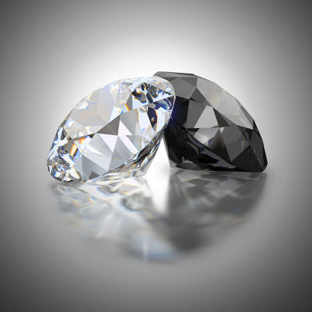 White and black diamond on a reflective background. 3d generated image.