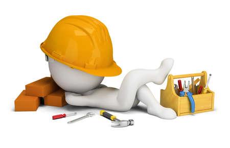 3d small people - le constructeur dort sur le lieu de travail. image 3D. Fond blanc.