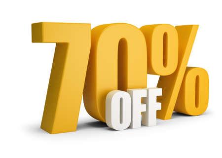 70 por ciento de descuento. Imagen 3D. Fondo blanco. Foto de archivo