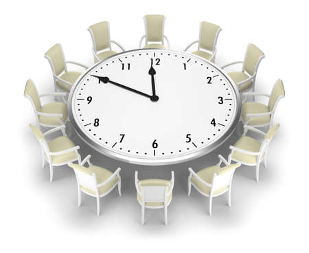Clock-table and chairs around it. 3d image. White background. Banque d'images