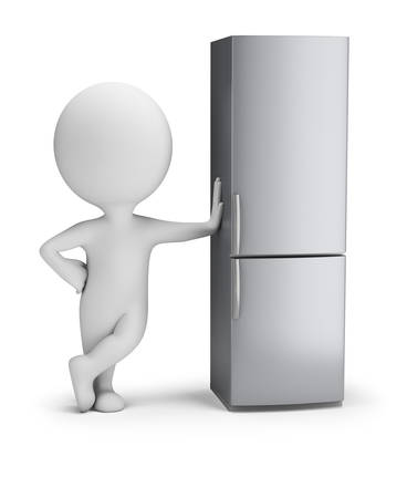 3d small person stands next to the fridge. 3d image. White background.