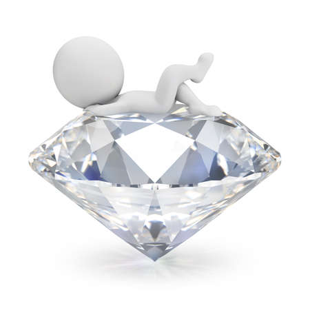 3d small person lies on the diamond. 3d image. White background. Banque d'images
