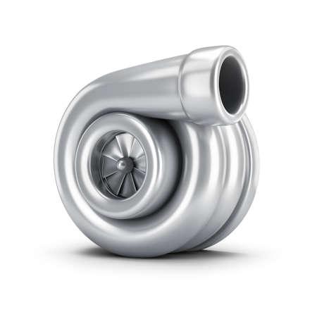 Turbocharger. 3d image. White background. Stock Photo