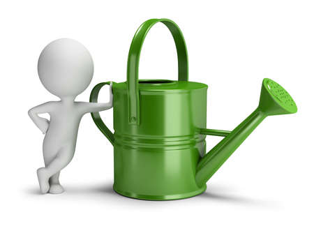 3d small person leaned on a big green watering can. 3d image. White background. Banque d'images