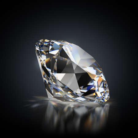 image générée en 3D. Diamant sur fond noir réfléchissant. Banque d'images