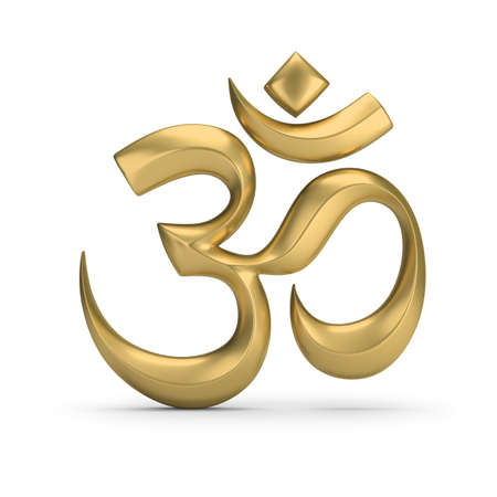 Golden symbol of hinduism. 3d image. White background. Stock Photo