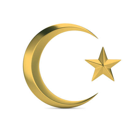 Golden Islamic symbol. Crescent moon and star. 3D generated image. White background. Banque d'images