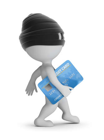 3d small people - thief with a credit card. 3d image. White background.