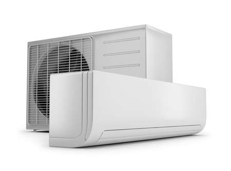 Outdoor and indoor air conditioning unit. 3d image. White background. Archivio Fotografico