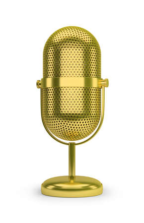 Golden retro microphone. 3d image. White background.
