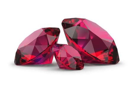 Three rubies. 3d image. White background. Stockfoto