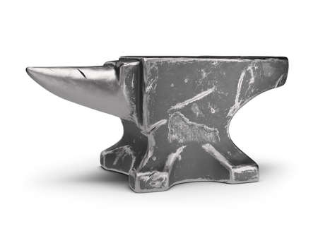 Old cast iron anvil. 3d image. White background.