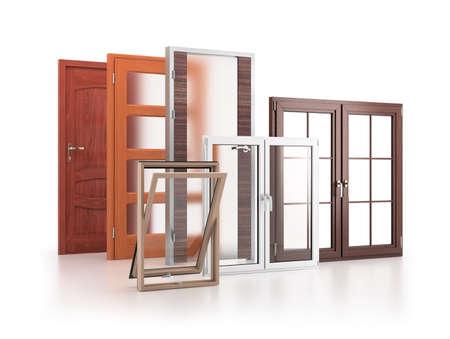 Windows and doors. 3d image. White background.