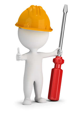 3d small people - repairman with a large screwdriver. 3d image. White background.