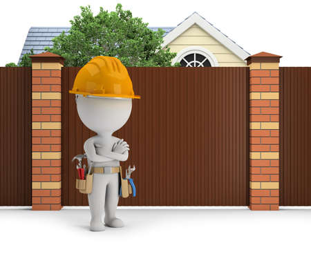 3d small people - repairman stands next to a fence in the background of a cottage with a tree. 3d image. White background. Standard-Bild