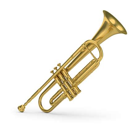 Brass trumpet. 3d image. White background.