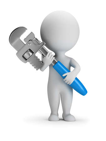 3d small person stands with a pipe wrench. 3d image. White background.