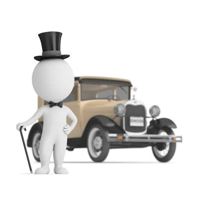 3d small people - gentleman and retro car in the background. Depth of field. 3d image. White background.