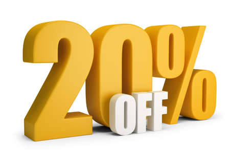 20 percent OFF. 3d image. White background.