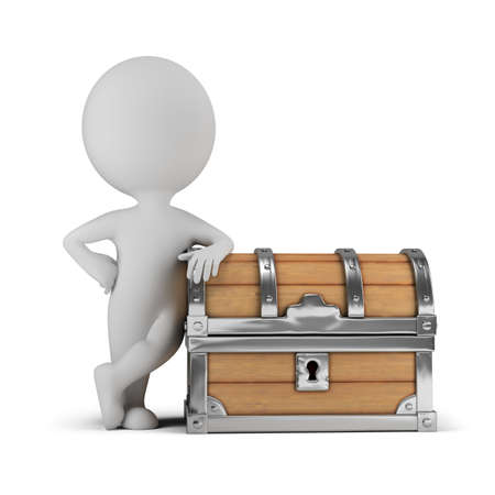 3d small person standing next to a chest. 3d image. White background. Standard-Bild