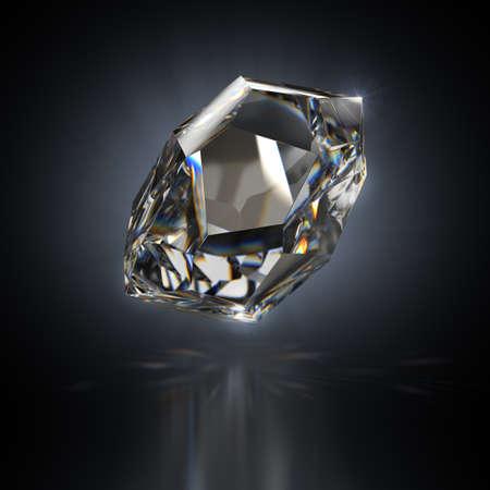 Crystal on a black reflective background. 3d image. Standard-Bild