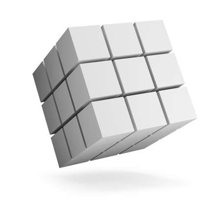 Abstract figure from cubes. 3d image. White background.